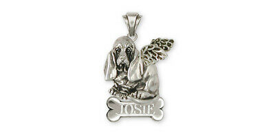 Basset Hound Angel Personalized Pendant Jewelry Sterling Silver Handmade Dog Per