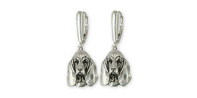 Basset Hound Earrings Jewelry Sterling Silver Handmade Dog Earrings BAS3-E