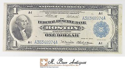 1918 $1 Federal Reserve Bank of Boston National Currency US Currency Note *049
