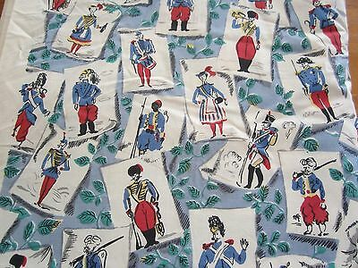 Vintage Fabric Quilt Craft Sew Skirt 1940S Red Blue Soldier Card Novelty Cotton