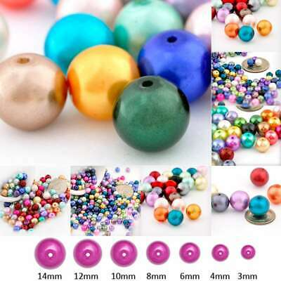 Glass Pearl Round Loose Spacer Beads Jewellery Craft Assorted 3/4/6/8/10/12/14mm