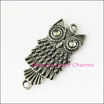 5 New Animal Owl Birds Connector Tibetan Silver Tone Charms Pendants 18.5x37.5mm