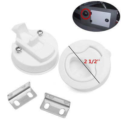 Hot 2'' White Flush Pull Slam Latch Marine Boat Locking Hatch Boat Rv Door 2pcs