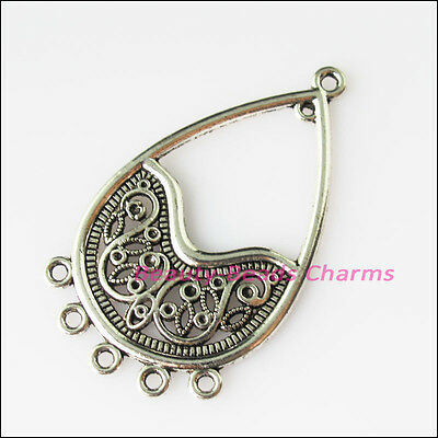 4 New Teardrop Flowers Connectors Tibetan Silver Tone Charms Pendants 26.5x45mm