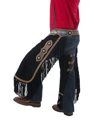 Tough-1 Western Apparel Mens Hand Painted Suede Chinks Black 63-7925