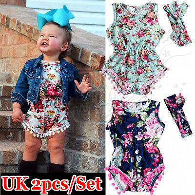 2pcs Newborn Baby Girl Floral Romper Bodysuit Headband Sets Summer Clothes UK