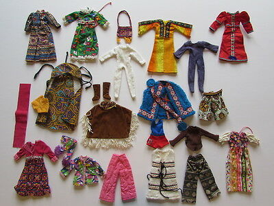 All original 12 x Outfits for Kenner Blythe Palitoy Doll 1972 with some shoes.