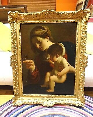 Large 17th Century Italian Old Master Madonna Of The Sparrow Antique Painting