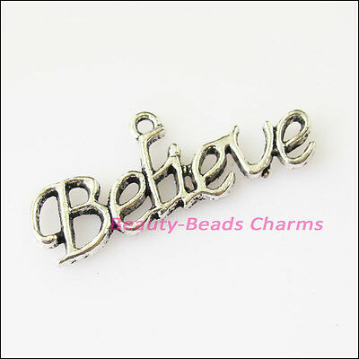 12 New Believe Words Connectors Tibetan Silver Tone Charms Pendants 13x35mm
