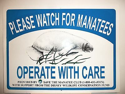 Wildlife Sign Watch out for Manatee Nautical Marine Life Florida Beach Boating