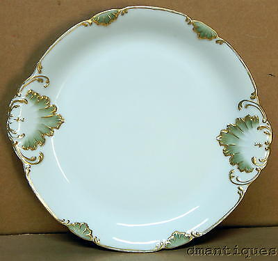 Antique French Porcelain Round Platter Tray Green and Gold Leaves Scalloped Edge