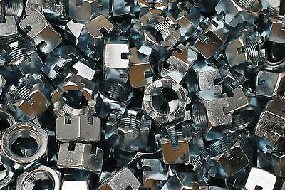 """(30) Slotted Hex Castle Nuts 7/8-14 Fine Thread Zinc Plated 7/8""""-14"""