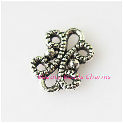 25 New Flower Leaf Connectors Tibetan Silver Tone Charms Pendants 9x12mm