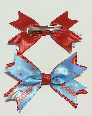Handmade RAINBOWS Hair Bows Alligator CLIPS Sold In PAIRS, These Match Uniform!!
