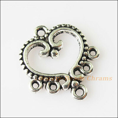 12 New Heart Connectors Tibetan Silver Tone Charms Pendants 19x21mm