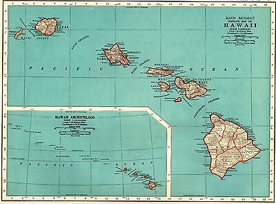 1935 Vintage Hawaii Map Gallery Wall Art Hawaiiana Hawaiian Islands Map #3695