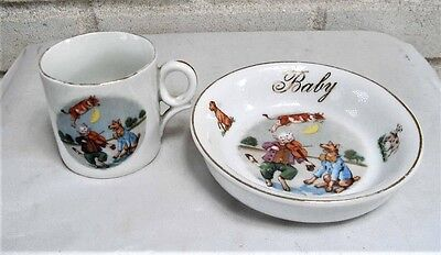 Antique German Porcelain Baby Mug & Bowl Cow Jumped over Moon, Cat. Fiddle, Dog