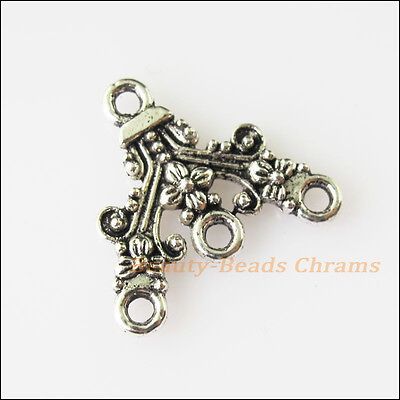 12 New Flower Connectors Tibetan Silver Tone Charms Pendants 16.5x18mm
