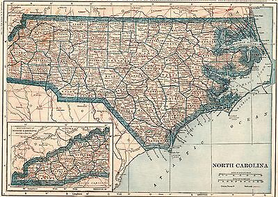 1922 Antique NORTH CAROLINA MAP Original Map of North Carolina State Map #3702
