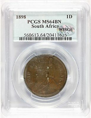 1898 South Africa One Penny Bronze Coin - PCGS MS 64 BN - KM# 2