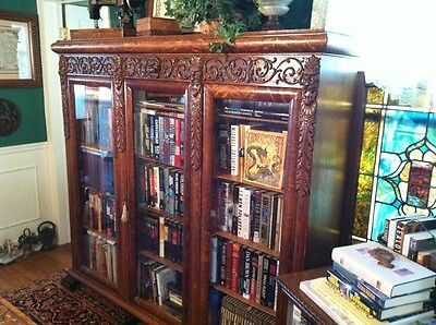 A.J. Johnson Clawfoot Lion Head 3Door Quartersawn Oak Bookcase