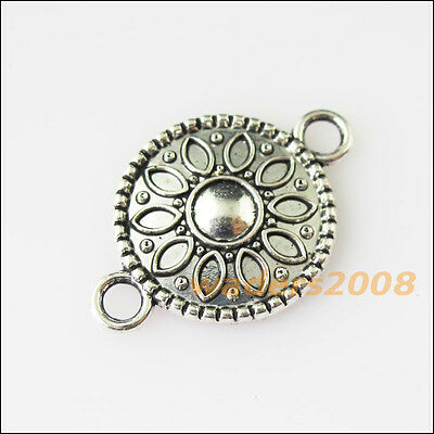 8 New Flower Round Connectors Tibetan Silver Tone Charms Pendants 15.5x23mm
