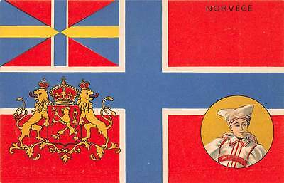 NORWAY, COUNTRY'S FLAG, COAT OF ARMS & WOMAN IN COSTUME POSTCARD ~ c. 1902