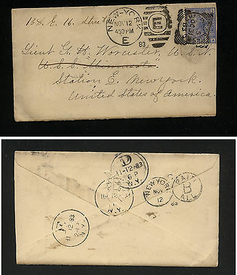 Great  Britain  #68  on  cover  to  US   1883 nice cancels         MS0208