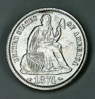 1874 Seated Liberty Dime With Arrows Uncirculated Detail