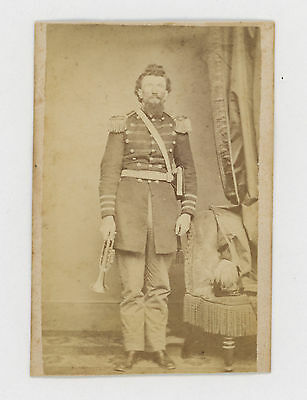 1860's CIVIL WAR SOLDIER, BUGLE, EPAULETTES, FEATHERED HAT CDV PHOTO, READING PA