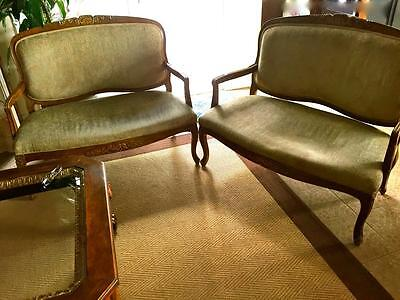 French Country Carved Wood SETTEE~CUSHION LOVE SEAT ANTIQUES~Set of 2
