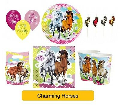 CHARMING HORSES Birthday Party Range - Pony Tableware Balloons & Decorations