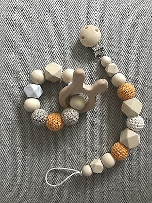 Baby Handmade Wood Crochet Silicone Shower Gift Dummy Clip Teether Set