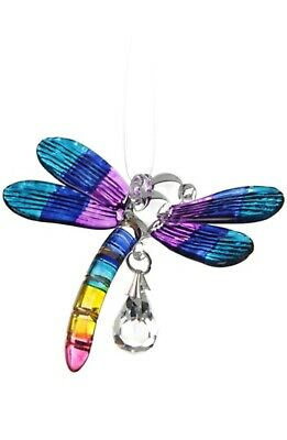 Fantasy Glass Dragonfly Suncatcher With A Swarovski Crystal - Tropical