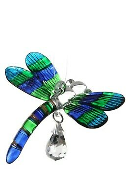 Fantasy Glass Dragonfly Suncatcher With A Swarovski Crystal - Peacock