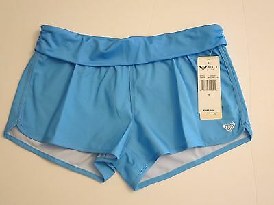 NWT Roxy Girl's 16 Blue Board Shorts Roll Top Waist Bikini Coverup Bottoms