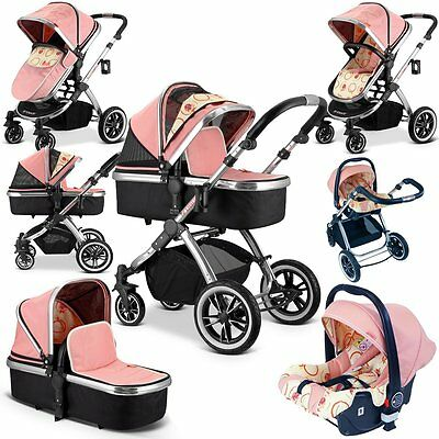 iVogue - Peach Luxury 3in1 Pram Stroller Travel System + CarSeat + Rain Cover