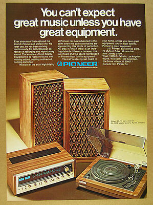 1975 Pioneer SX-737 Stereo Receiver PL-55X Turntable photo vintage print Ad