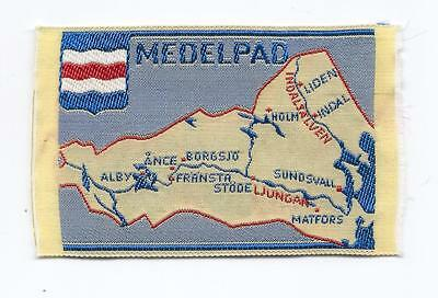 Medelpad Province Sweden Old Woven Travel Souvenir Patch Map Sundsvall Heritage