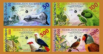 SET Netherlands Mauritius, 50;100;500;1000 Gulden, 2016, Private POLYMER, UNC