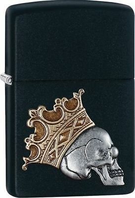 Zippo 29100, Emblem. Skull With Crown, Black Matte Lighter, ***6 Flints/Wick***