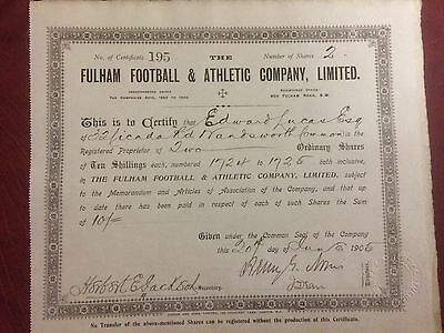 Fulham Football Club Orig 1905 Share Certificate Diff Signatures Buy It Now