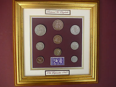 PERSONALISED FRAMED 1947 COIN SET 70th  WEDDING ANNIVERSARY GIFT IN 2017