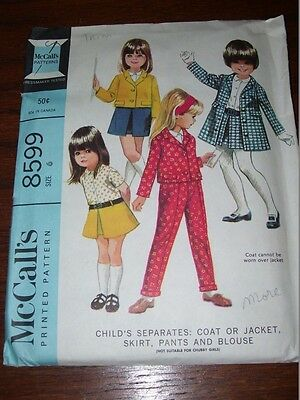 1966 McCALL'S #8599-GIRLS SWEET COAT or JACKET-SKIRT-PANTS & BLOUSE PATTERN 6 FF