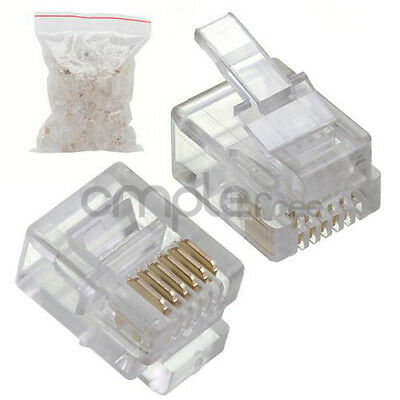 RJ12 Modular Plugs 6P6C for Solid 50 pcs Connectors NEW