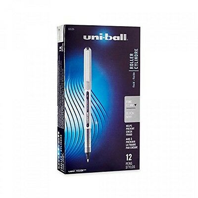 uniball Vision Rollerball Pens, Fine Point (0.7mm), Black, 12 Count