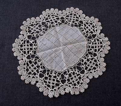 Antique Hand Embroidery With Crocheted Trim Creamy Doily