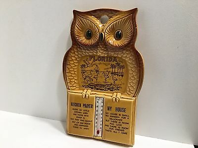 Vintage Owl Kitchen Prayer Spoon Rest Wall Plaque With Thermometer Made In Japan