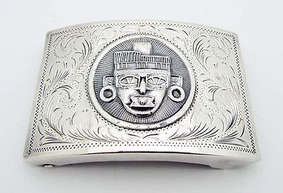 "Massive Mexican Handcrafted 3"" by 2"" Belt Buckle in Sterling Silver Eagle # 186"