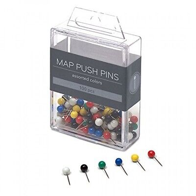 U Brands Map Push Pins, Plastic Head, Steel Point, Assorted Colors, 100Count